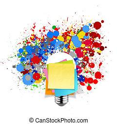 blank sticky note with splash colors lightbulb on white...
