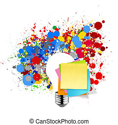 blank sticky note with splash colors lightbulb on white background as concept