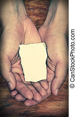 Blank Stone Block In Hands - Blank stone block in hands with...