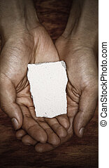 Blank Stone Block In Hands