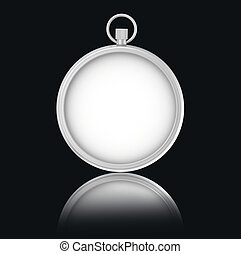 Blank Stopwatch on black background with reflection