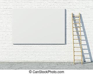 Blank street advertising billboard on brick wall