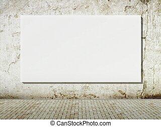 Blank street advertising billboard on grunge wall