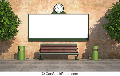 Blank street billboard on grunge wall with bench and recycle...