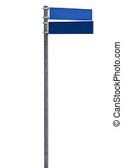 Blank street sign - Blue blank street sign isolated on...