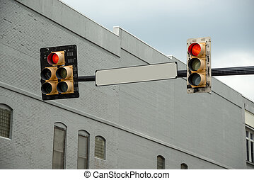 Blank Street Sign With Red Light