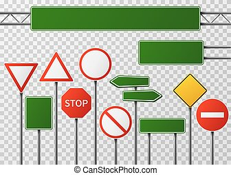 Blank street traffic and road signs vector set isolated