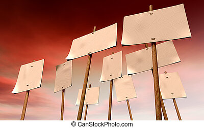 Blank Strikers Picket Plackards And Red Sky - A set of nine...