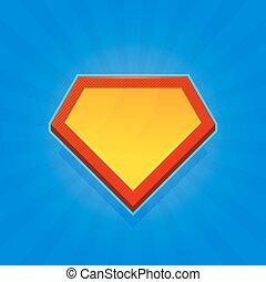 Blank Superhero Logo Icon on Blue Background. Vector
