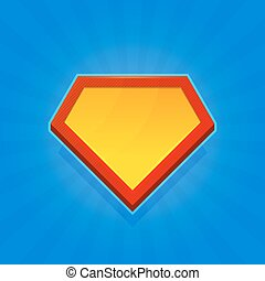 Blank Superhero Logo Icon on Blue Background. Vector...