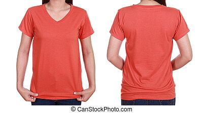 blank, t-shiet, sæt, (front, back), hos, kvindelig