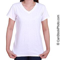 blank t-shirt on woman - blank white t-shirt on woman...