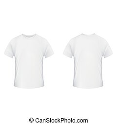 Blank t-shirt template. Front and back side on a white backgroun