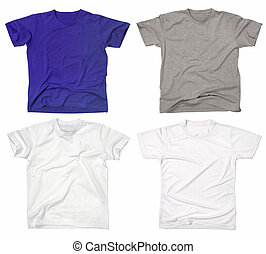 Blank t-shirts 2 - Photograph of four blank t-shirts, new...