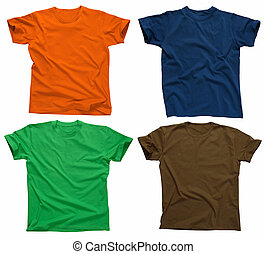 Photograph of four blank t-shirts, green, dark blue, brown, and orange. Clipping path included. Ready for your design or logo.
