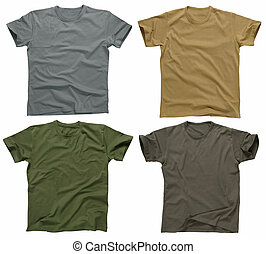 Blank t-shirts 5 - Photograph of four blank t-shirts, greys,...