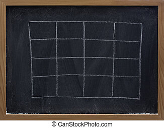 blank table on blackboard