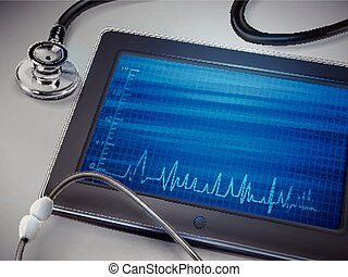 blank tablet with stethoscope