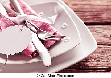 Blank Tag at Romantic mothers day Place Setting
