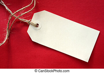 Blank tag on red