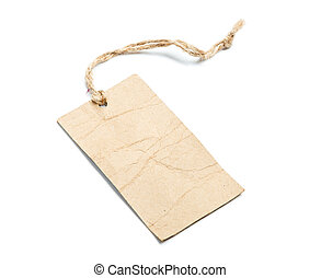 Blank tag tied with string on white