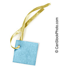 Blank tag tied with string ribbon