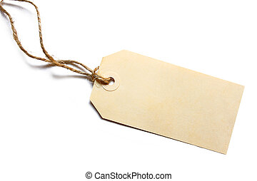 Blank Tag with String - Blank tag tied with brown string. ...