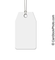 Blank tag with string isolated on white background. Price, gift, sale, address label
