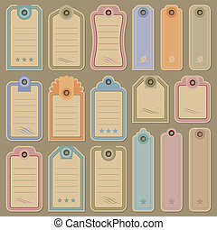 set of blank tag labels, scalable and editable vector illustrations;