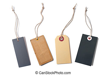 blank tags tied with string - set of the blank tags tied...