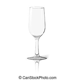 Blank tall transparent photo realistic isolated on white wine glass with reflection, for branding and your design. Vector