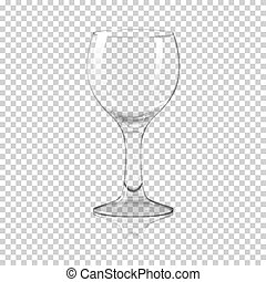 Blank tall transparent photo realistic isolated wine glass with reflection, for branding and your design. On plaid background. Vector