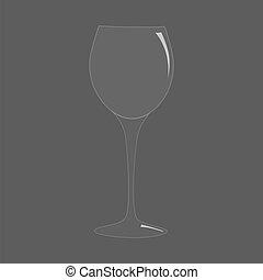 Blank tall transparent realistic wine glass