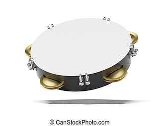 Blank tambourine  isolated on a white background. 3d render