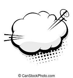 Blank template comic speech cloud bubble - Halftone dot...