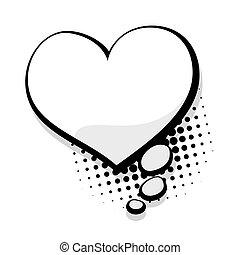 Blank template comic speech heart bubble