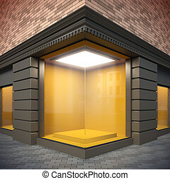 Blank template corner showcase. - A 3d illustration of blank...