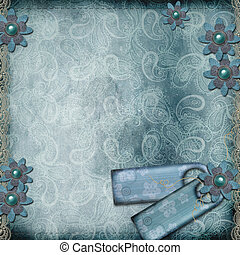 Blank template for greetings card or photo frame in blue colors