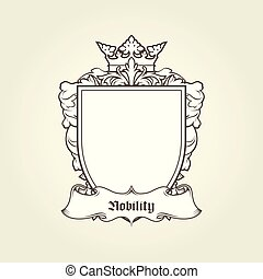 Blank template of coat of arms - shield with crown and banner, heraldic blazon