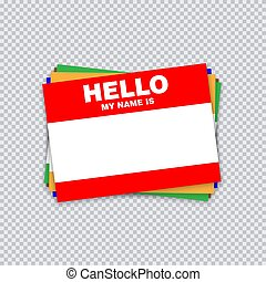 Blank template tag my name is. Different color blank stickers white label isolated on transparent background.