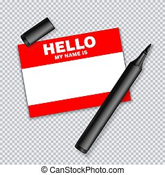 Blank template tag my name is. Red color blank stickers white label with marker isolated on transparent background.