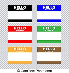 Blank template tag my name is. Set of color blank stickers white label isolated on transparent background.