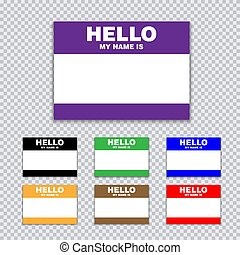 Blank template tag my name is. Set of color blank stickers white label with shadows isolated on transparent background.