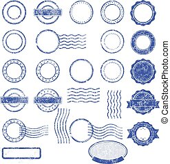 Blank templates of postal stamps
