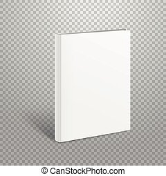 Blank thin book vector mockup. Paper book isolated on...