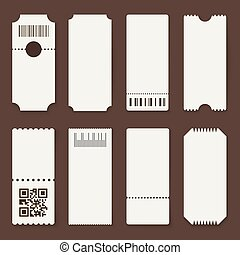 Blank tickets. Concert theater or airplane empty paper tickets, movie admit one coupons. Lottery isolated vector 3d mockups