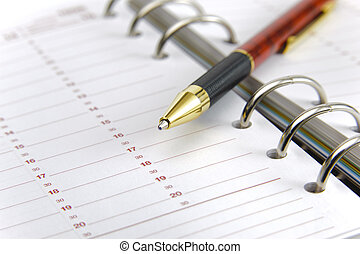 blank time planner and pen