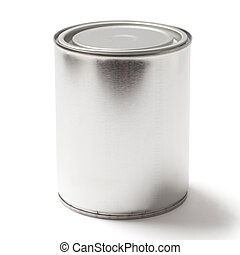 Blank Tin Paint Can on White with a Clipping Path