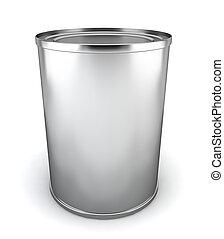 Blank tincan. 3d illustration on white background