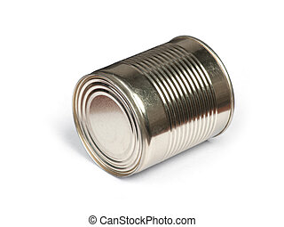 Blank tincan gilded metal Tin Can, canned Food. Isolated on...
